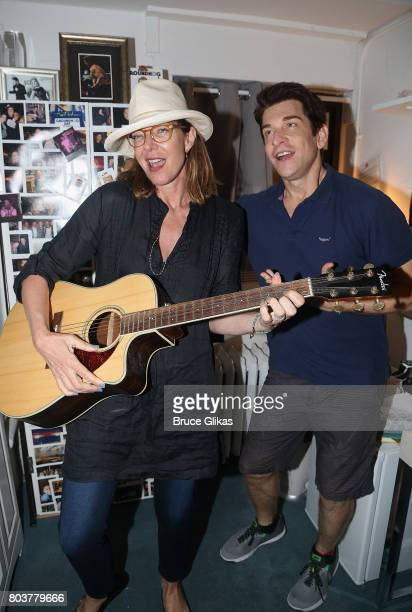 Allison Janney and Andy Karl pose backstage at the hit musical Groundhog Day on Broadway at The August Wilson Theatre on June 29 2017 in New York City
