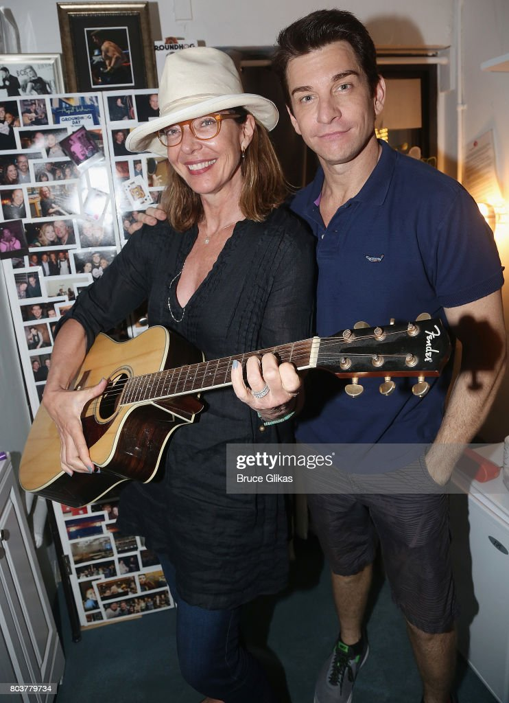Allison Janney and Andy Karl (who co-starred in the Broadway musical ''9 to 5') pose backstage at the hit musical 'Groundhog Day' on Broadway at The August Wilson Theatre on June 29, 2017 in New York City.
