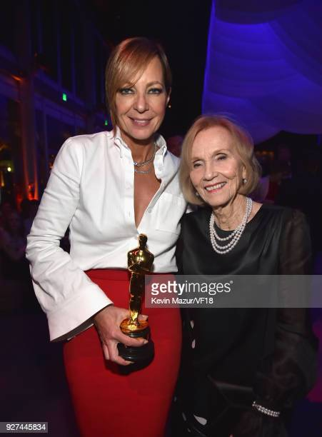 Allison Janney and Eva Marie Saint attend the 2018 Vanity Fair Oscar Party hosted by Radhika Jones at Wallis Annenberg Center for the Performing Arts...