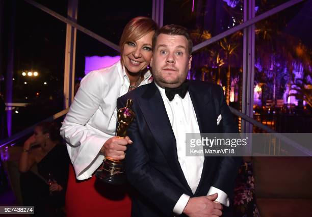 Allison Janney and James Corden attend the 2018 Vanity Fair Oscar Party hosted by Radhika Jones at Wallis Annenberg Center for the Performing Arts on...