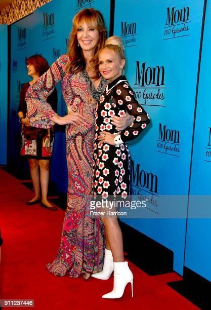Allison Janney and Kristin Chenoweth attends CBS And Warner Bros Television's 'Mom' Celebrates 100 Episodes at TAO Hollywood on January 27 2018 in...