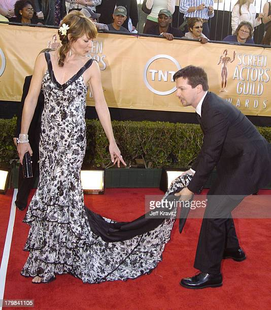 Allison Janney and Sean Hayes during 2005 Screen Actors Guild Awards Arrivals at The Shrine in Los Angeles California United States