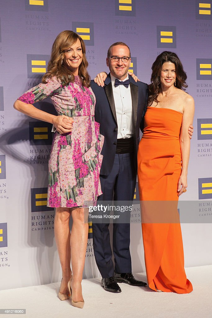 Allison Janney, Chad Griffin, and Melissa Fitzgerald attend the 19th Annual HRC National Dinner at Walter E. Washington Convention Center on October 3, 2015 in Washington, DC.