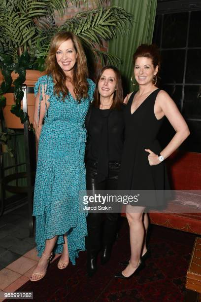 Allison Janney Leslie Seibert and Debra Messing attend the Gersh Upfronts Party 2018 at The Bowery Hotel on May 15 2018 in New York City