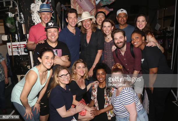 Allison Janney poses with the cast backstage at the hit musical Groundhog Day on Broadway at The August Wilson Theatre on June 29 2017 in New York...