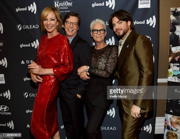 Allison Janney Sean Hayes Jamie Lee Curtis and Adam Lambert attend the 30th Annual GLAAD Media Awards Los Angeles at The Beverly Hilton Hotel on...