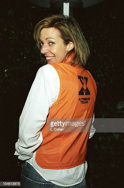 Allison Janney wearing a Playboy XTreme Team vest at a party held at the Playboy Mansion