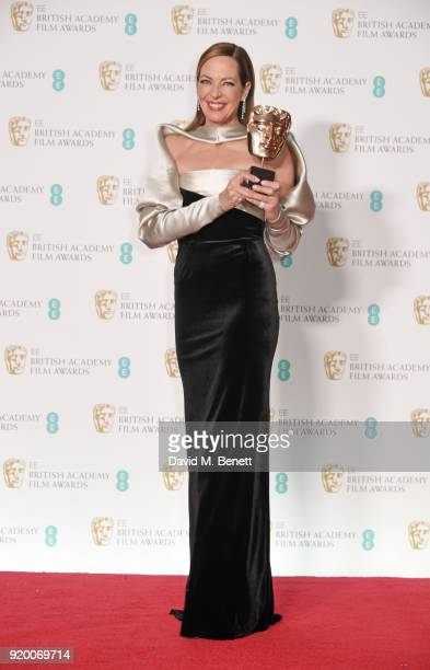 Allison Janney winner of the Best Supportin Actress award for 'I Tonya' poses in the press room during the EE British Academy Film Awards held at...