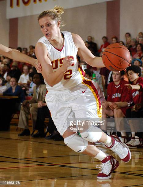 Allison Jaskowiak of USC drives to the basket during 7869 loss to Stanford in Pacific10 Conference women's basketball game at the Lyon Center in Los...