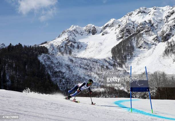Allison Jones of the United States competes in the Women's Giant Slalom Standing during day nine of the Sochi 2014 Paralympic Winter Games at Rosa...