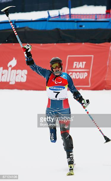 Allison Jones of the USA celebrates winning the Women's Standing Slalom during day eight of the 2006 Paralympic Winter Games on March 18 2006 in...