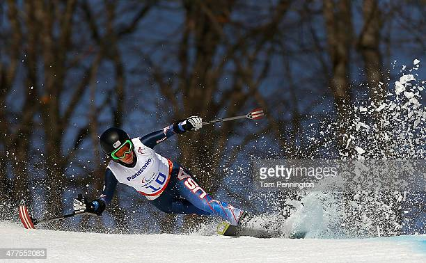 Allison Jones of USA competes in the Women's SuperG standing during day three of Sochi 2014 Paralympic Winter Games at Rosa Khutor Alpine Center on...