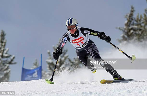 Allison Jones skis the Super G enroute to winning the Women's Standing Skier Super Combined at the 2009 US Adaptive Alpine Nationals at the Winter...