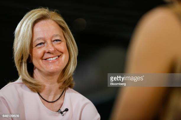 Allison Kirkby, chief executive officer of Tele2 AB, reacts during a Bloomberg Television interview on the second day of Mobile World Congress in...