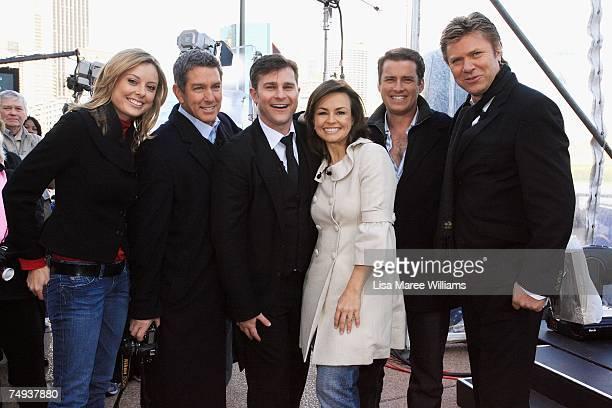 Allison Langdon, Cameron Williams, singer David Campbell, Lisa Wilkinson, Karl Stefanovic and Richard Wilkins pose for a photo after going live...