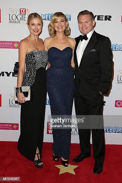 Allison Langdon Tara Brown and Michael Usher arrive at the 2014 Logie Awards at Crown Palladium on April 27 2014 in Melbourne Australia
