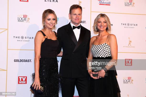 Allison Langdon Tom Steinfort and Liz Hayes arrive at the 60th Annual Logie Awards at The Star Gold Coast on July 1 2018 in Gold Coast Australia