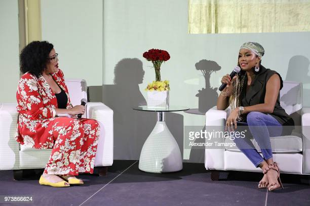 Allison McGevna and actor LaToya Luckett speak on stage at the Cadillac Welcome Luncheon At ABFF Black Hollywood Now at The Temple House on June 13...
