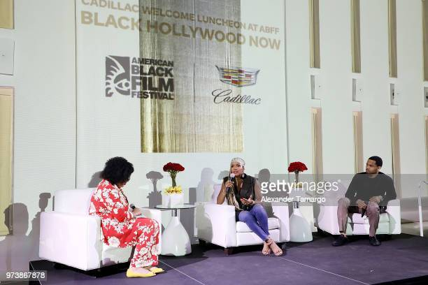 Allison McGevna and actors LaToya Luckett and Tristan 'Mack' Wilds speak on stage at the Cadillac Welcome Luncheon At ABFF Black Hollywood Now at The...