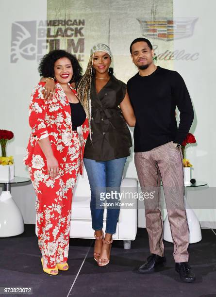 Allison McGevna and actors LaToya Luckett and Tristan 'Mack' Wilds attend the Cadillac Welcome Luncheon At ABFF Black Hollywood Now at The Temple...
