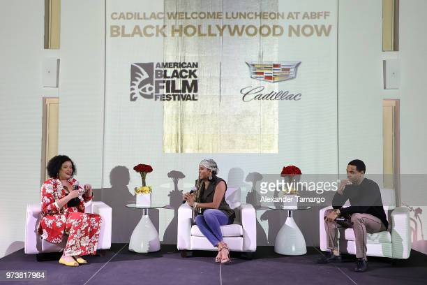 Allison McGevna and actors LaToya Lukett and Tristan 'Mack' Wilds speak on stage at the Cadillac Welcome Luncheon At ABFF Black Hollywood Now at The...