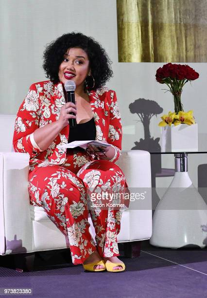 Allison McGevna speaks on stage at the Cadillac Welcome Luncheon At ABFF Black Hollywood Now at The Temple House on June 13 2018 in Miami Beach...