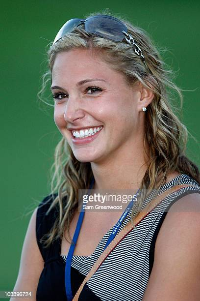 Allison Micheletti girlfriend of Martin Kaymer of Germany is seen during the awards presentation at the 92nd PGA Championship on the Straits Course...