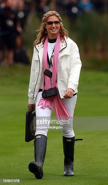 Allison Micheletti watches the play of Martin Kaymer of Europe during the rescheduled Afternoon Foursome Matches during the 2010 Ryder Cup at the...