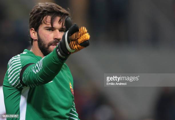 Allison of AS Roma gestures during the Serie A match between FC Internazionale and AS Roma at Stadio Giuseppe Meazza on January 21 2018 in Milan Italy