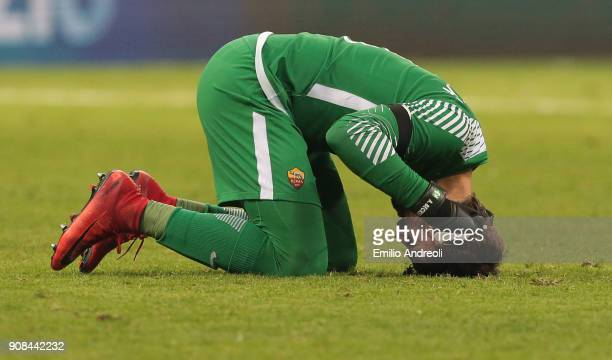 Allison of AS Roma shows his dejection at the end of the Serie A match between FC Internazionale and AS Roma at Stadio Giuseppe Meazza on January 21...