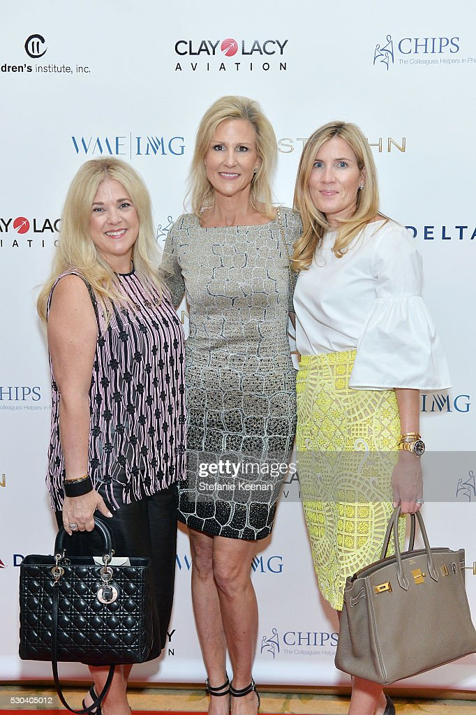 Allison Petrocelle; Jill Olofson and Christine Weller attend CHIPS Luncheon Featuring St. John at Beverly Hills Hotel on May 10, 2016 in Beverly Hills, California.