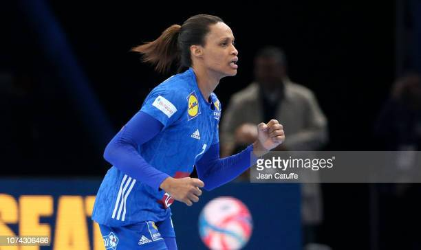 Allison Pineau of France celebrates a goal during the EHF Women's Euro 2018 Final match between Russia and France at AccorHotels Arena on December 16...