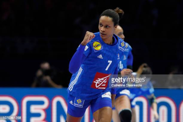 Allison Pineau of France is reacting after a play during the EHF Women's Euro main stage match between Sweden and France at Parc des Expositions Hall...
