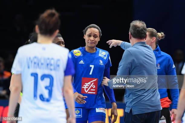 Allison Pineau of France receives a red card during the EHF Women's Euro 2018 match for the 3rd place between Netherlands and Romania at AccorHotels...