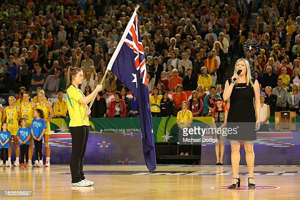 Allison Rae Jones preforms during the Constellation Cup match between the Australian Diamonds and the New Zealand Silver Ferns at Rod Laver Arena on...