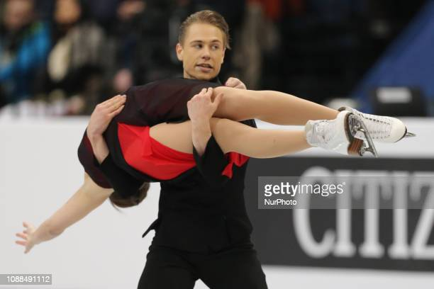 Allison Reed and Saulius Ambrulevicius of Lithuania compete in the Ice Dance Rhythm Dance during day three of the ISU European Figure Skating...