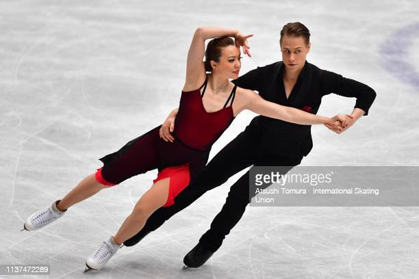 Allison Reed and Saulius Ambrulevicius of Lithuania compete in the Ice Dance Rhythm Dance on day three of the 2019 ISU World Figure Skating...