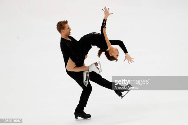 Allison Reed and Saulius Ambrulevicius of Lithuania performs in the Ice Dance Free Dance skating event on the second day of the ISU GP Rostelecom Cup...