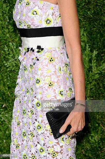 Allison Sarofim, fashion detail, attends the 12th annual CFDA/Vogue Fashion Fund Awards at Spring Studios on November 2, 2015 in New York City.