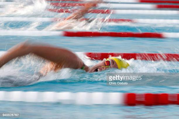 Allison Schmitt competes in the final of the 200 meter freestyle on day one of the TYR Pro Swim Series at Mesa at Skyline Aquatics Center on April 12...