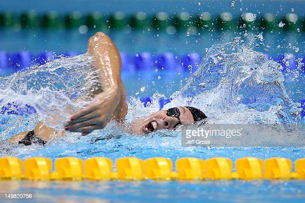 Allison Schmitt of the United States competes in the Women's 4 x 100m Medley Relay final on Day 8 of the London 2012 Olympic Games at the Aquatics...
