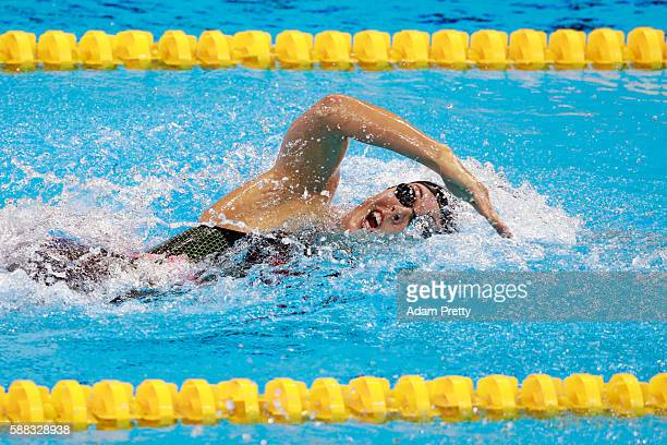 Allison Schmitt of the United States competes in the Women's 4 x 200m Freestyle Relay Final on Day 5 of the Rio 2016 Olympic Games at the Olympic...