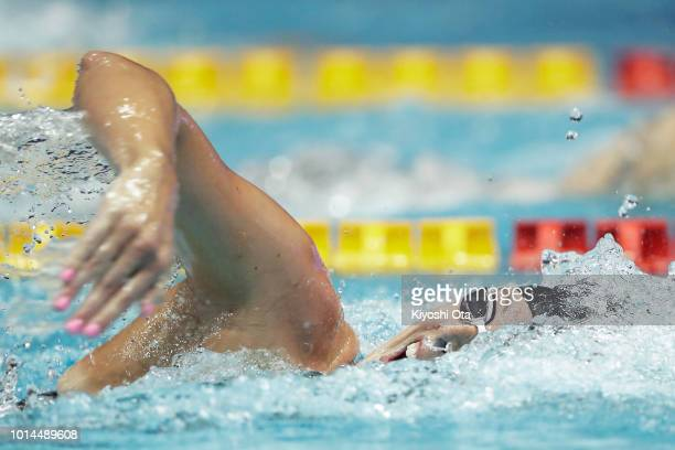 Allison Schmitt of the United States competes in the Women's 4x200m Freestyle Relay on day two of the Pan Pacific Swimming Championships at Tokyo...