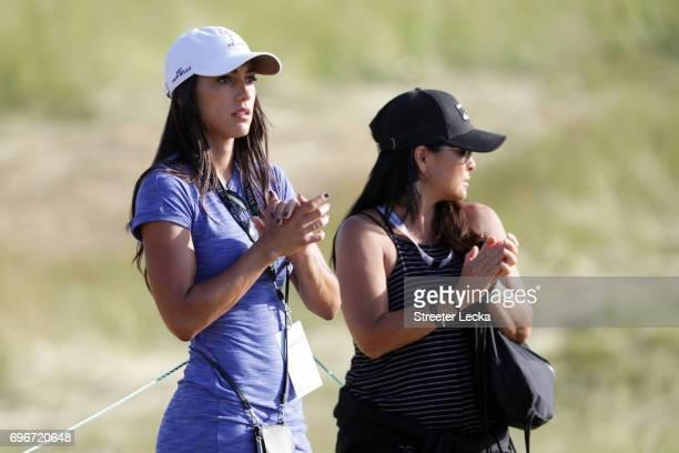 Allison Stokee and Lynn Fowler mother of Rickie Fowler look on during the second round of the 2017 US Open at Erin Hills on June 16 2017 in Hartford...