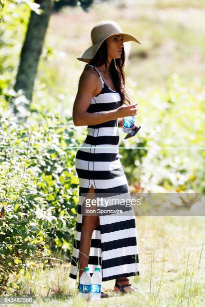 Allison Stokke American Olympic track and field star and girlfriend of Rickie Fowler watches from the 8th tee boxduring the final round of the Dell...