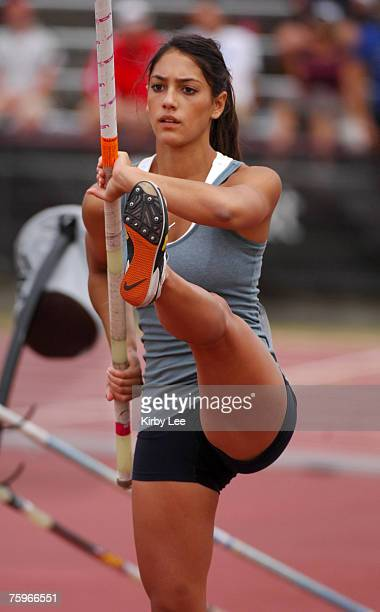 Allison Stokke competes in the junor women's pole vault in the USA Track Field Champonships at Carroll Stadium in Indianapolis Ind on Friday June 22...