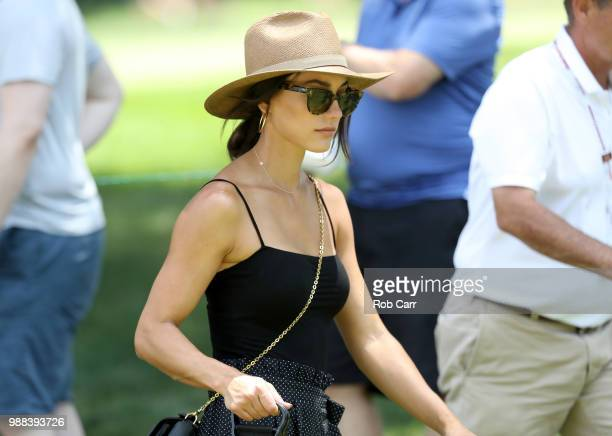 Allison Stokke fiance of Rickie Fowler looks on during the third round of the Quicken Loans National at TPC Potomac on June 30 2018 in Potomac...
