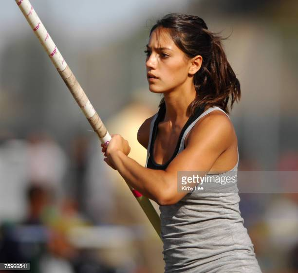 Allison Stokke of Newport Harbor High warms up before the girls' pole vault qualifying in the CIF State Track Field Championships at Hughes Stadium...