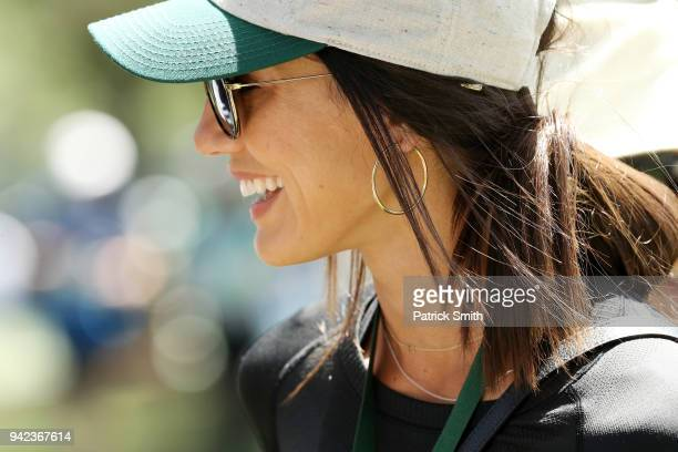 Allison Stokke walks the grounds during the first round of the 2018 Masters Tournament at Augusta National Golf Club on April 5 2018 in Augusta...
