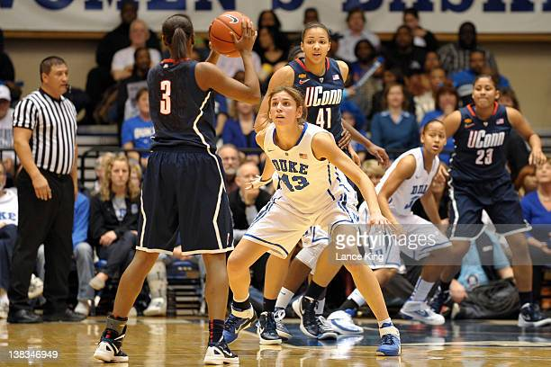 Allison Vernerey of the Duke Blue Devils defends Tiffany Hayes of the Connecticut Huskies at Cameron Indoor Stadium on January 30 2012 in Durham...